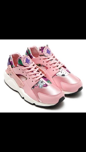 shoes pink pink shoes huarache nike floral aloah rose nike running shoes sneakers sneakerhead