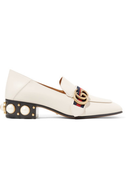 gucci heel embellished pumps leather white off-white shoes