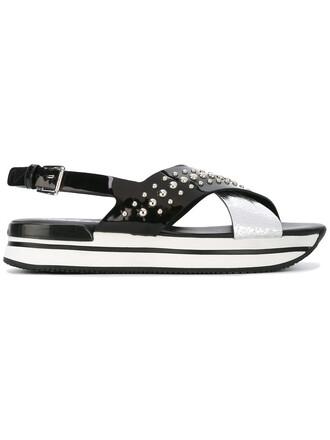 studded metal women sandals platform sandals leather grey metallic shoes