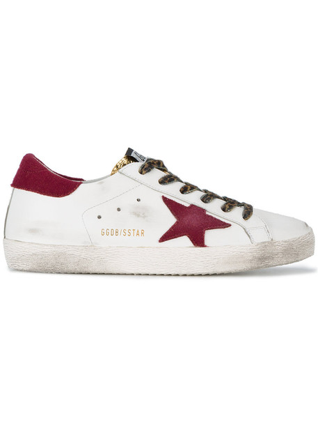 GOLDEN GOOSE DELUXE BRAND women sneakers leather white wool burgundy shoes