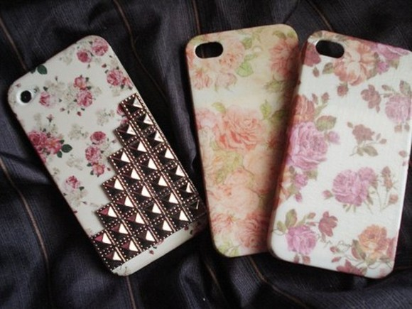 jewels studded iphone cover iphone5 iphone cover iphone case case flowers studs cover iphone 5 cover cute bag floral vintage