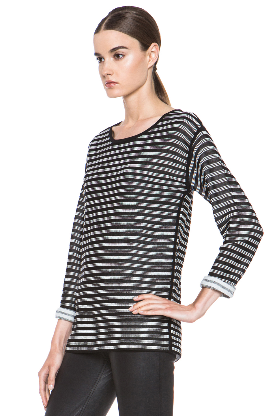 T by Alexander Wang|Stripe Knit Top in Black & White