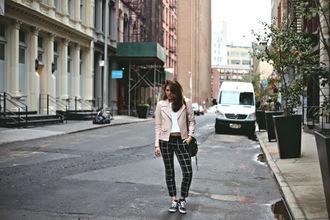 pants baby pink blogger jacket color me nana checkered