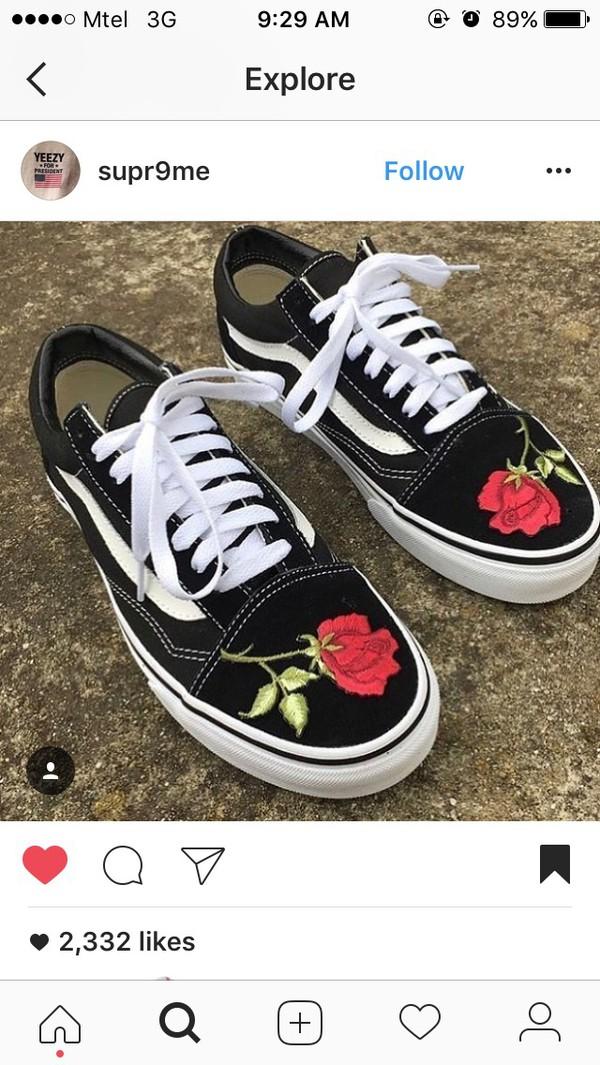 Shoes vans embroidered rose wheretoget