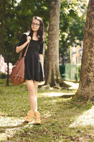 pupuren blogger shoes black dress leather bag
