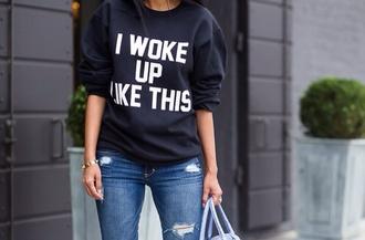 sweater i woke up like this blue sweater