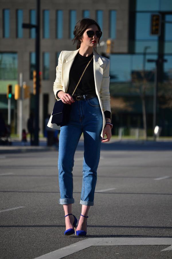 views by laura jeans belt bag shoes jewels jacket sunglasses