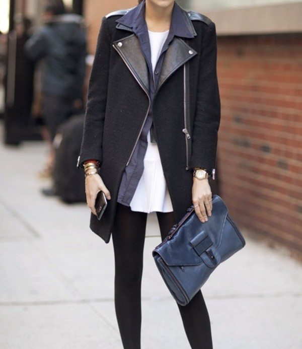 jacket wool leather biker jacket coat black coat