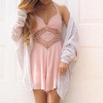 dress pink dress cut-out dress short dress spaghetti strap cardigan