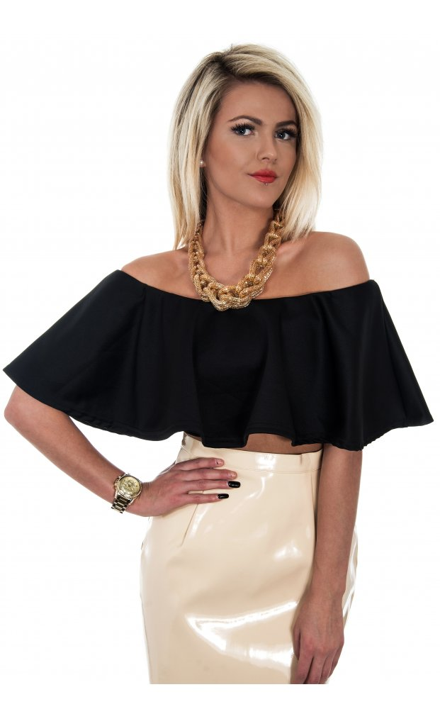7e80af3124cfe Bardot Frill Front Top In Black - from The Fashion Bible UK
