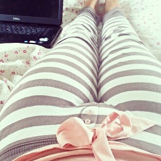 pants stripes pink bow grey and white