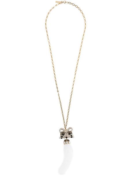 Ermanno Scervino long necklace long fur fox women necklace pendant grey metallic jewels