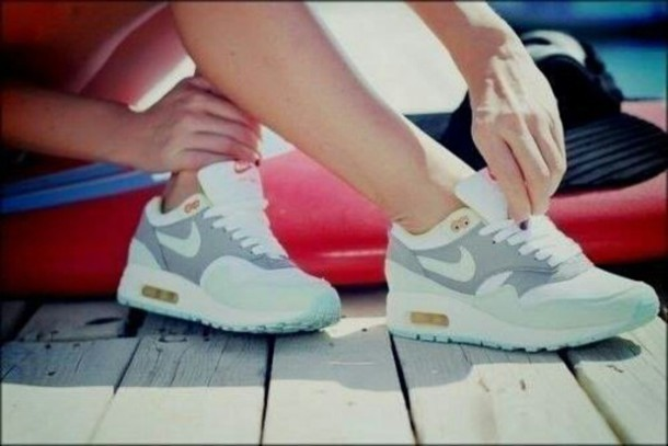 Womens Nike Air Max 1 Running Shoes White Grey Light Blue Yellow Free Shipping