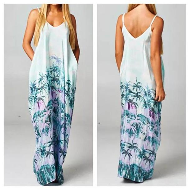 Hawaiian style maxi dresses