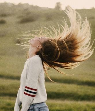 sweater stripes beige hair artsy jumper girl