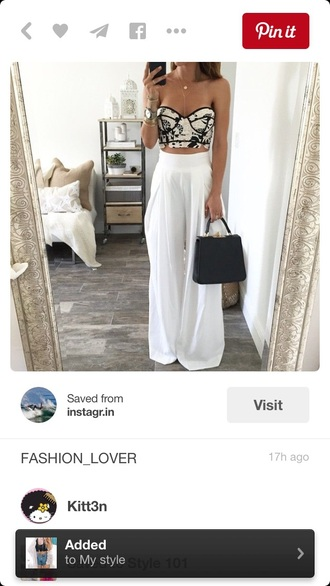 top bustier strapless crop tops white crop tops black and white pants boho chic outfit two-piece high waisted pants