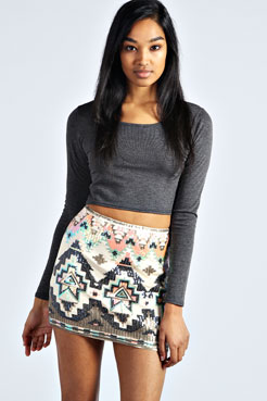 Teegan All Over Sequin Mini Skirt at boohoo.com