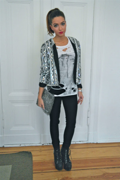 jacket silver cardigan bag shoes