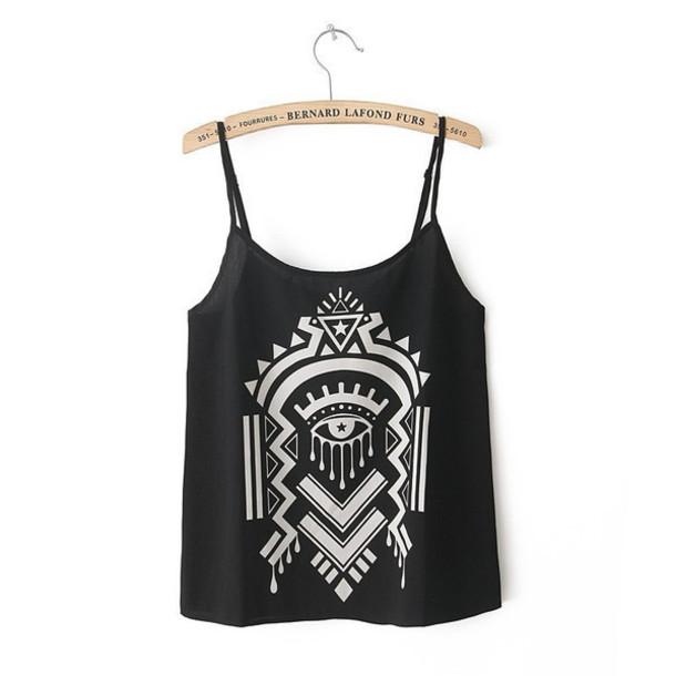 tank top top clothes geometric design girls shirt