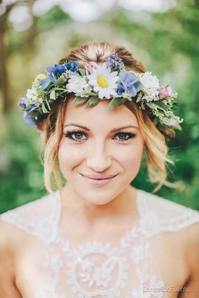 hair accessory boho flower crown hipster wedding wedding hairstyles blue wedding accessory