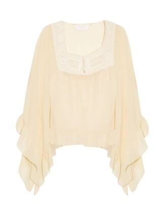 top peasant top lace cream