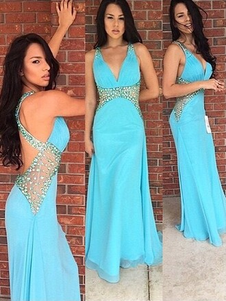 dress blue fashion elegant trendy style prom gown open back sparkle dressofgirl