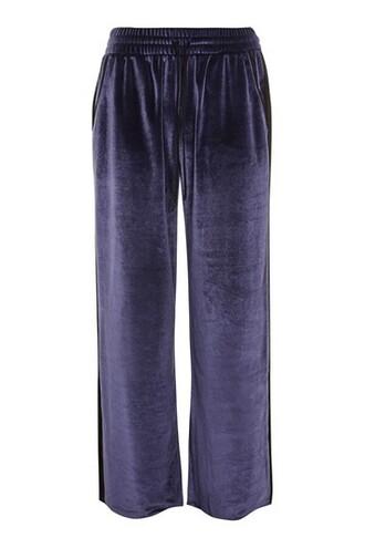 lace navy blue velvet pants