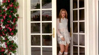 cher alicia silverstone plaid skirt sheer clueless 90s style socks cuffs pastel