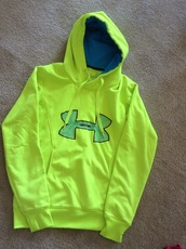 sweater,under armour,yellow,neon,hoodie