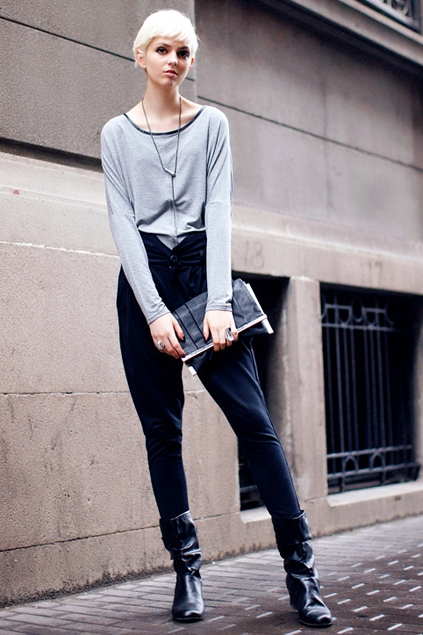 Leather-bound Batwing Sleeve Cotton T-shirt - OASAP.com