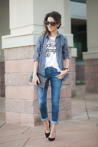 alterations needed blogger jeans striped shirt graphic tee quilted bag