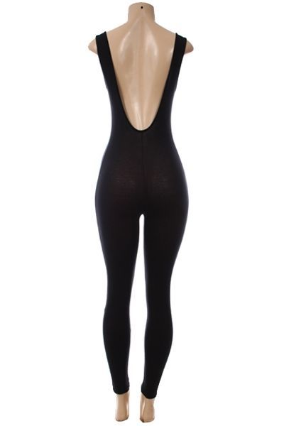 Lethalbeauty ? solid deep v back bodycon jumpsuit