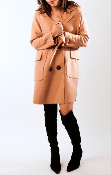 Wool oversize coat with raw edge