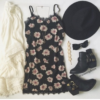 dress lace floral dress sundress daisy