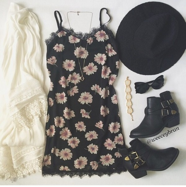 floral dress sundress daisy lace dress romper black floral pink beige lace trim short summer spaghetti strap