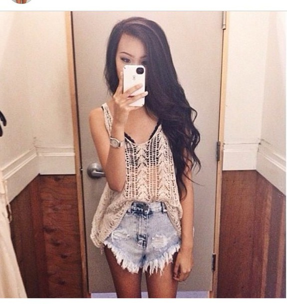 shirt see through knit cream hippie hipster tan summer tank top