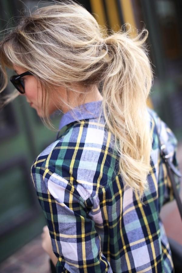 shirt blonde hair top pretty style fashion flannel 2014 hair sunglasses flannel shirt flannel shirt red shirt ponytail blouse