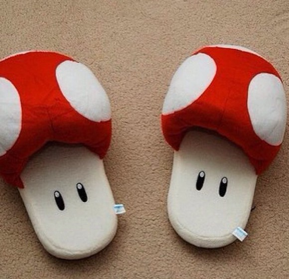 shoes fashion dots cute slippers red toad mario fluffy soft