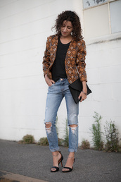alterations needed,blogger,jacket,shirt,jeans,shoes,bag,jewels,sunglasses,clutch,black bag,ripped jeans,black top,brown jacket,printed jacket,printed blazer