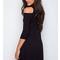 Black cold shoulder lattice front 3/4 sleeve dress
