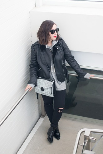 adventures in fashion blogger jacket sweater jeans bag shoes sunglasses jewels make-up patent boots black leather jacket leather jacket black sunglasses hoodie grey bag ripped jeans