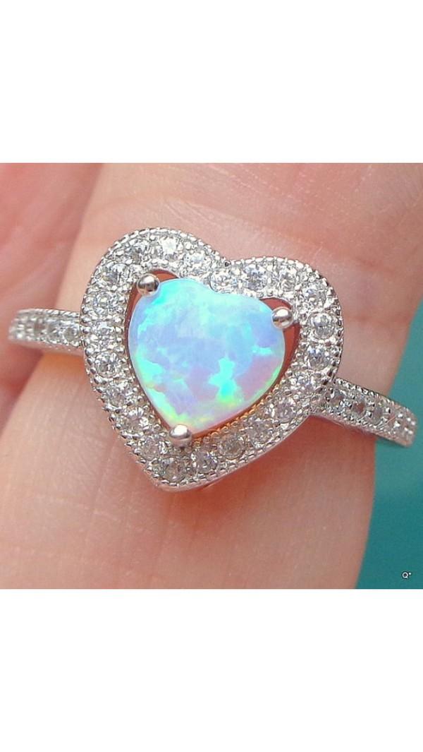 e916d37b21 HAIMIS Heart Shape Pink Fire Opal CZ Women Claw Inay Fashion Jewelry ...