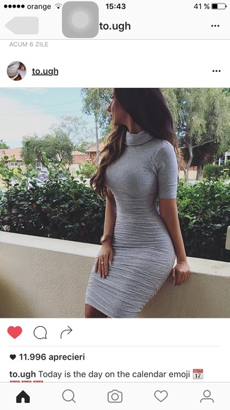 dress grey mini dress bodycon dress