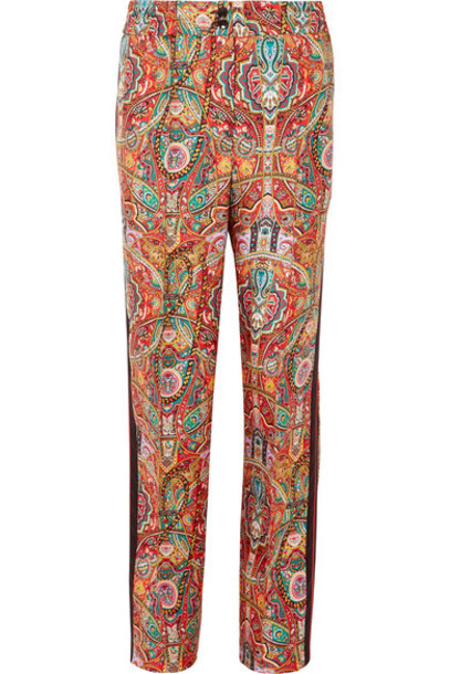 ETRO pants wide-leg pants silk satin red