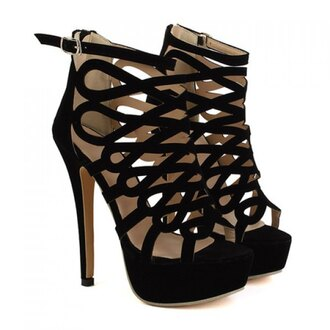 shoes sandals high heels platform shoes fashionable women's sandals with black and openwork design sexy trendy party style fashion