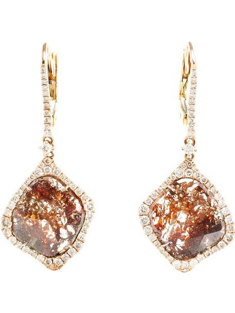 rose gold rose women earrings gold grey metallic jewels