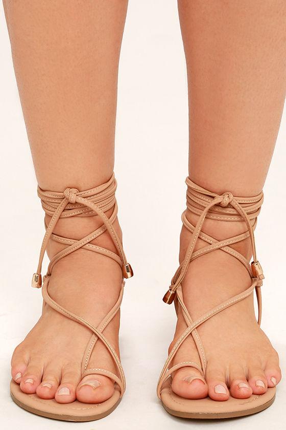 Micah Nude Lace-Up Flat Sandals