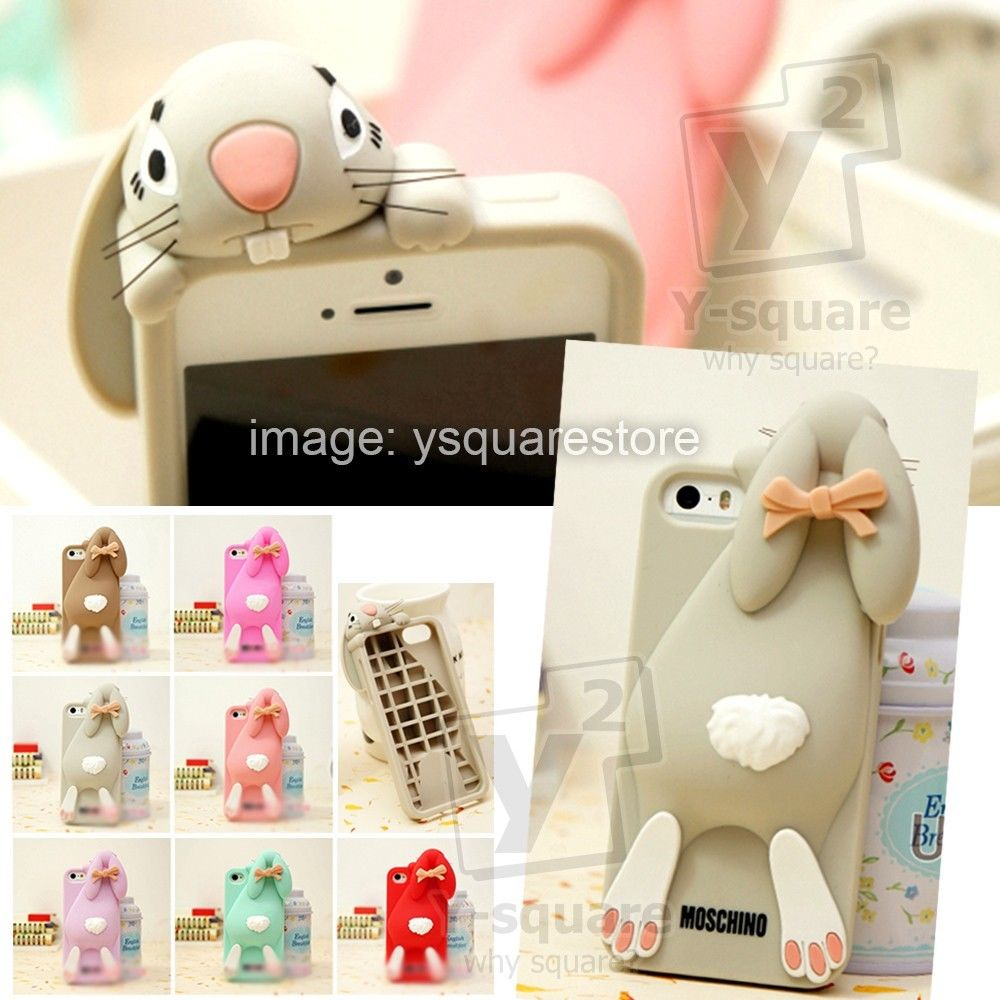 Fashion iPhone 4 4S 5 5S Moschino Rabbit Bunny 3D Apple Silicone Back Cover Case | eBay