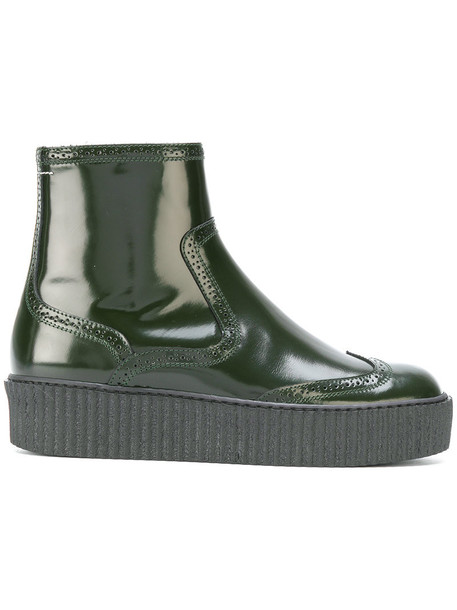 Mm6 Maison Margiela women ankle boots leather green shoes
