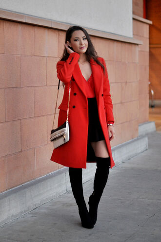 hapa time blogger top bag red coat winter coat thigh high boots mini skirt classy coat skirt shoes jewels all red wishlist
